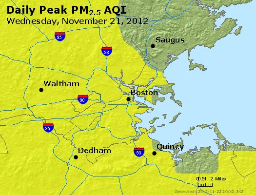 Peak Particles PM<sub>2.5</sub> (24-hour) - http://files.airnowtech.org/airnow/2012/20121121/peak_pm25_boston_ma.jpg