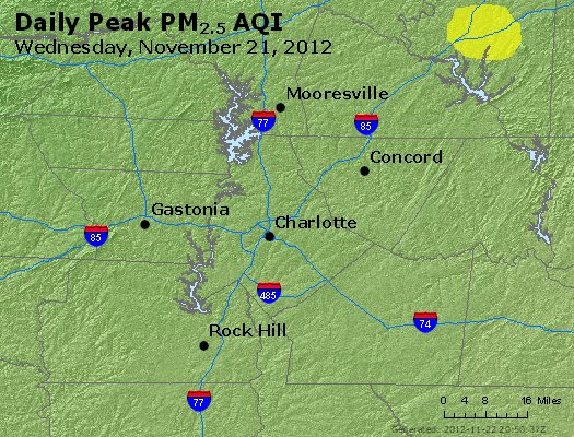 Peak Particles PM<sub>2.5</sub> (24-hour) - http://files.airnowtech.org/airnow/2012/20121121/peak_pm25_charlotte_nc.jpg