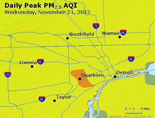 Peak Particles PM<sub>2.5</sub> (24-hour) - http://files.airnowtech.org/airnow/2012/20121121/peak_pm25_detroit_mi.jpg
