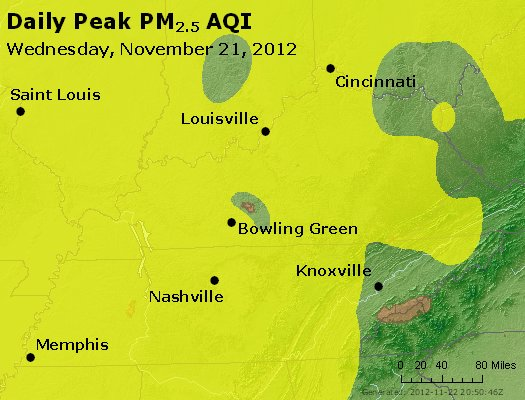 Peak Particles PM<sub>2.5</sub> (24-hour) - http://files.airnowtech.org/airnow/2012/20121121/peak_pm25_ky_tn.jpg