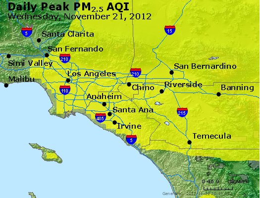 Peak Particles PM<sub>2.5</sub> (24-hour) - http://files.airnowtech.org/airnow/2012/20121121/peak_pm25_losangeles_ca.jpg