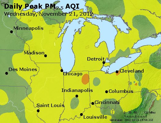 Peak Particles PM<sub>2.5</sub> (24-hour) - http://files.airnowtech.org/airnow/2012/20121121/peak_pm25_mi_in_oh.jpg