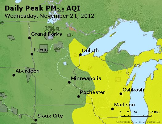 Peak Particles PM<sub>2.5</sub> (24-hour) - http://files.airnowtech.org/airnow/2012/20121121/peak_pm25_mn_wi.jpg