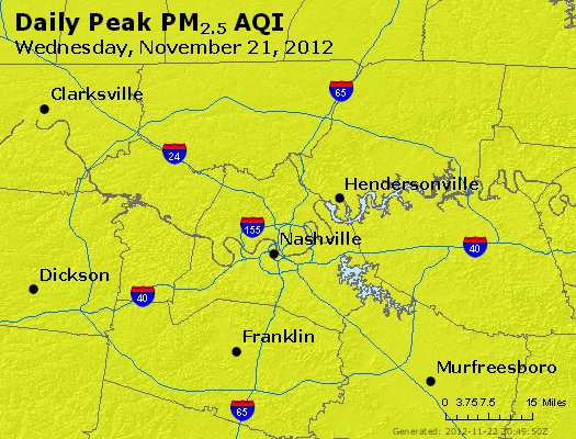Peak Particles PM<sub>2.5</sub> (24-hour) - http://files.airnowtech.org/airnow/2012/20121121/peak_pm25_nashville_tn.jpg