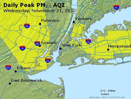 Peak Particles PM<sub>2.5</sub> (24-hour) - http://files.airnowtech.org/airnow/2012/20121121/peak_pm25_newyork_ny.jpg
