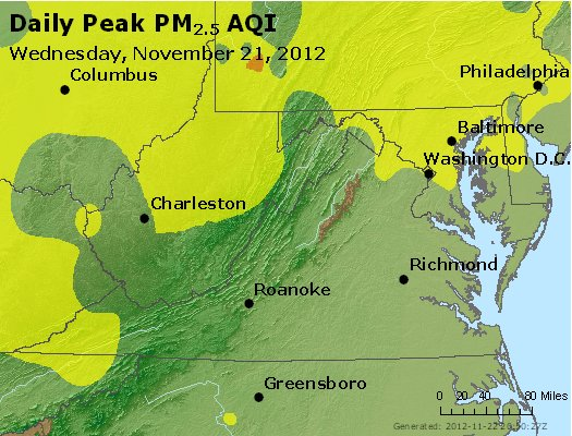 Peak Particles PM<sub>2.5</sub> (24-hour) - http://files.airnowtech.org/airnow/2012/20121121/peak_pm25_va_wv_md_de_dc.jpg