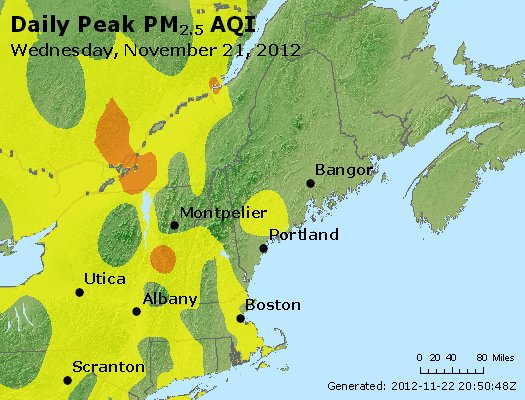 Peak Particles PM<sub>2.5</sub> (24-hour) - http://files.airnowtech.org/airnow/2012/20121121/peak_pm25_vt_nh_ma_ct_ri_me.jpg