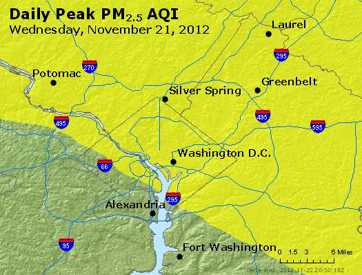 Peak Particles PM<sub>2.5</sub> (24-hour) - http://files.airnowtech.org/airnow/2012/20121121/peak_pm25_washington_dc.jpg