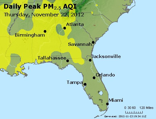 Peak Particles PM<sub>2.5</sub> (24-hour) - http://files.airnowtech.org/airnow/2012/20121122/peak_pm25_al_ga_fl.jpg