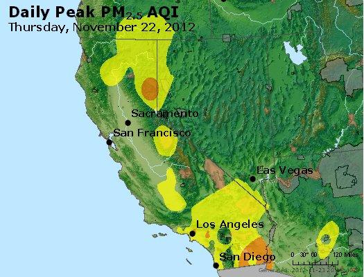 Peak Particles PM<sub>2.5</sub> (24-hour) - http://files.airnowtech.org/airnow/2012/20121122/peak_pm25_ca_nv.jpg
