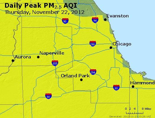 Peak Particles PM<sub>2.5</sub> (24-hour) - http://files.airnowtech.org/airnow/2012/20121122/peak_pm25_chicago_il.jpg