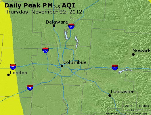 Peak Particles PM<sub>2.5</sub> (24-hour) - http://files.airnowtech.org/airnow/2012/20121122/peak_pm25_columbus_oh.jpg