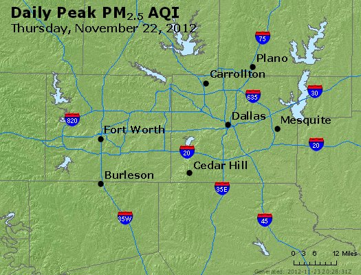 Peak Particles PM<sub>2.5</sub> (24-hour) - http://files.airnowtech.org/airnow/2012/20121122/peak_pm25_dallas_tx.jpg