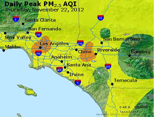 Peak Particles PM<sub>2.5</sub> (24-hour) - http://files.airnowtech.org/airnow/2012/20121122/peak_pm25_losangeles_ca.jpg