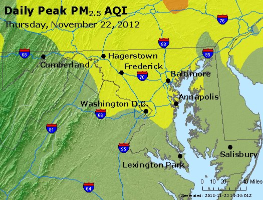Peak Particles PM<sub>2.5</sub> (24-hour) - http://files.airnowtech.org/airnow/2012/20121122/peak_pm25_maryland.jpg