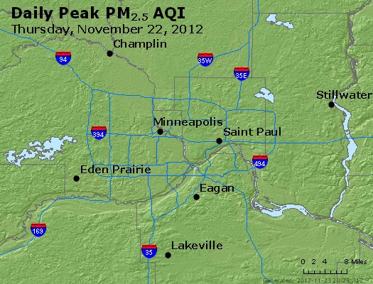 Peak Particles PM<sub>2.5</sub> (24-hour) - http://files.airnowtech.org/airnow/2012/20121122/peak_pm25_minneapolis_mn.jpg