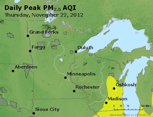 Peak Particles PM<sub>2.5</sub> (24-hour) - http://files.airnowtech.org/airnow/2012/20121122/peak_pm25_mn_wi.jpg