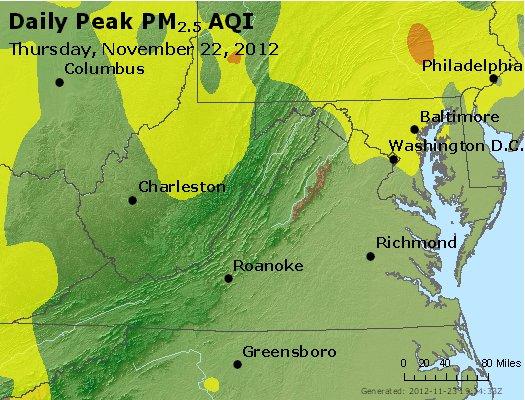 Peak Particles PM<sub>2.5</sub> (24-hour) - http://files.airnowtech.org/airnow/2012/20121122/peak_pm25_va_wv_md_de_dc.jpg