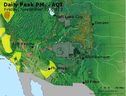 Peak Particles PM<sub>2.5</sub> (24-hour) - http://files.airnowtech.org/airnow/2012/20121123/peak_pm25_co_ut_az_nm.jpg
