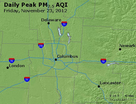Peak Particles PM<sub>2.5</sub> (24-hour) - http://files.airnowtech.org/airnow/2012/20121123/peak_pm25_columbus_oh.jpg