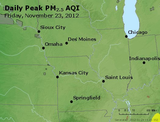 Peak Particles PM<sub>2.5</sub> (24-hour) - http://files.airnowtech.org/airnow/2012/20121123/peak_pm25_ia_il_mo.jpg