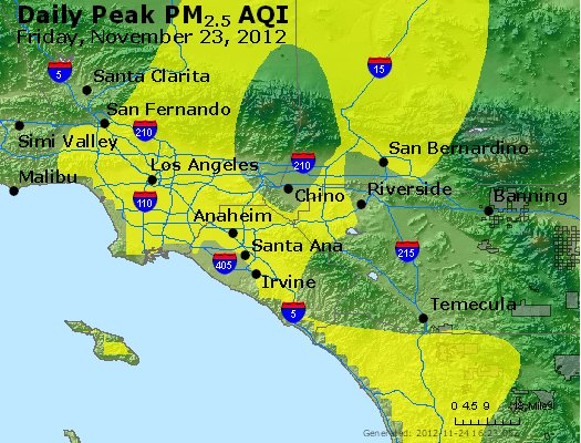 Peak Particles PM<sub>2.5</sub> (24-hour) - http://files.airnowtech.org/airnow/2012/20121123/peak_pm25_losangeles_ca.jpg