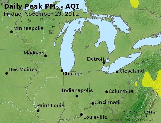 Peak Particles PM<sub>2.5</sub> (24-hour) - http://files.airnowtech.org/airnow/2012/20121123/peak_pm25_mi_in_oh.jpg
