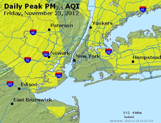 Peak Particles PM<sub>2.5</sub> (24-hour) - http://files.airnowtech.org/airnow/2012/20121123/peak_pm25_newyork_ny.jpg