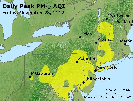 Peak Particles PM<sub>2.5</sub> (24-hour) - http://files.airnowtech.org/airnow/2012/20121123/peak_pm25_ny_pa_nj.jpg