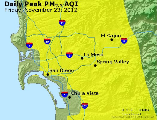 Peak Particles PM<sub>2.5</sub> (24-hour) - http://files.airnowtech.org/airnow/2012/20121123/peak_pm25_sandiego_ca.jpg