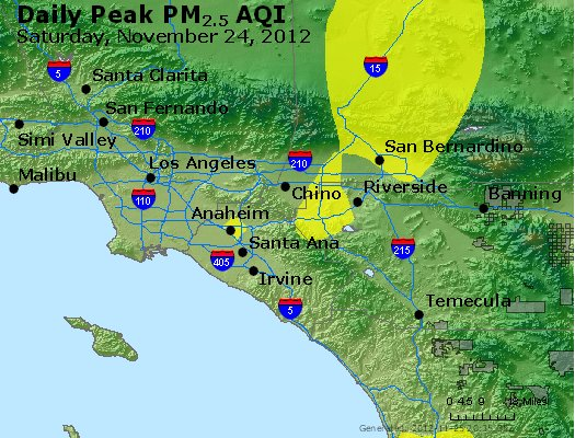 Peak Particles PM<sub>2.5</sub> (24-hour) - http://files.airnowtech.org/airnow/2012/20121124/peak_pm25_losangeles_ca.jpg