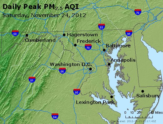 Peak Particles PM<sub>2.5</sub> (24-hour) - http://files.airnowtech.org/airnow/2012/20121124/peak_pm25_maryland.jpg