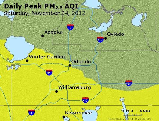 Peak Particles PM<sub>2.5</sub> (24-hour) - http://files.airnowtech.org/airnow/2012/20121124/peak_pm25_orlando_fl.jpg