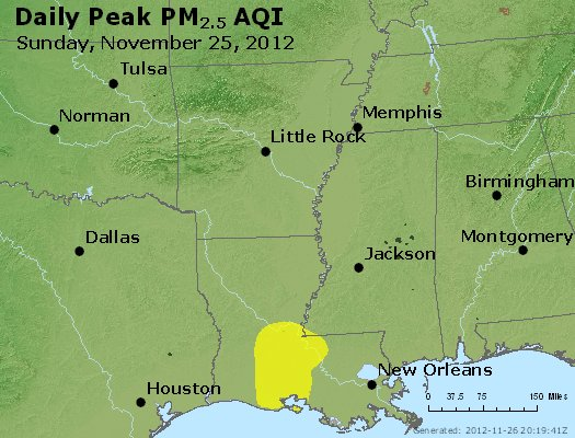 Peak Particles PM<sub>2.5</sub> (24-hour) - http://files.airnowtech.org/airnow/2012/20121125/peak_pm25_ar_la_ms.jpg