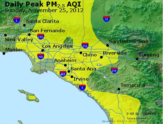 Peak Particles PM<sub>2.5</sub> (24-hour) - http://files.airnowtech.org/airnow/2012/20121125/peak_pm25_losangeles_ca.jpg