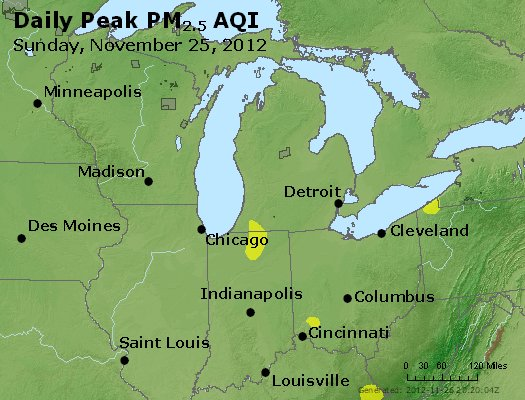 Peak Particles PM<sub>2.5</sub> (24-hour) - http://files.airnowtech.org/airnow/2012/20121125/peak_pm25_mi_in_oh.jpg