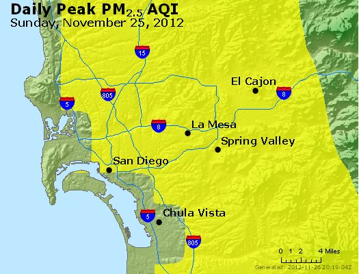 Peak Particles PM<sub>2.5</sub> (24-hour) - http://files.airnowtech.org/airnow/2012/20121125/peak_pm25_sandiego_ca.jpg