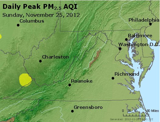 Peak Particles PM<sub>2.5</sub> (24-hour) - http://files.airnowtech.org/airnow/2012/20121125/peak_pm25_va_wv_md_de_dc.jpg