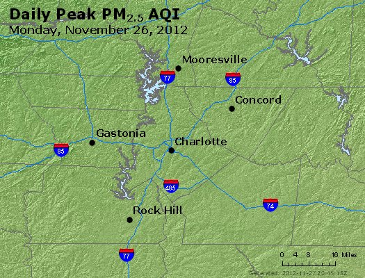 Peak Particles PM<sub>2.5</sub> (24-hour) - http://files.airnowtech.org/airnow/2012/20121126/peak_pm25_charlotte_nc.jpg