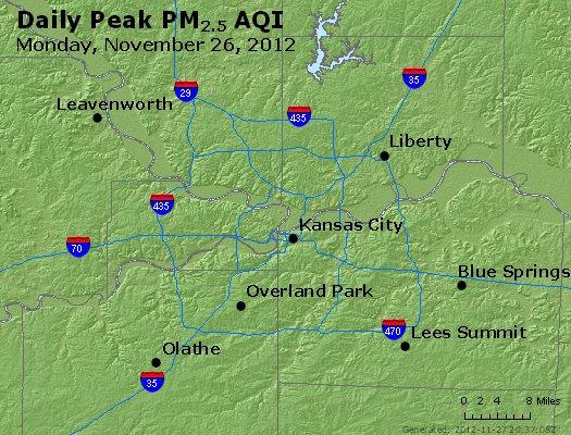 Peak Particles PM<sub>2.5</sub> (24-hour) - http://files.airnowtech.org/airnow/2012/20121126/peak_pm25_kansascity_mo.jpg