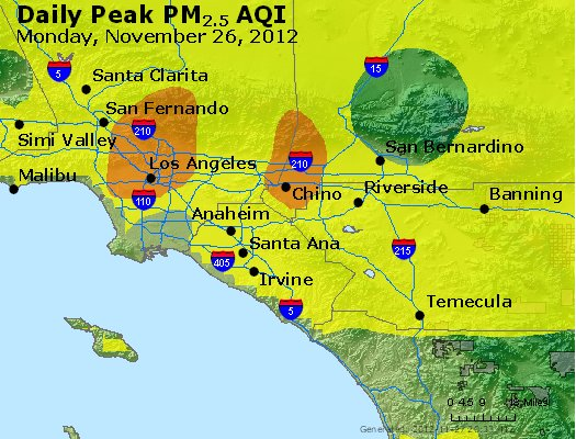 Peak Particles PM<sub>2.5</sub> (24-hour) - http://files.airnowtech.org/airnow/2012/20121126/peak_pm25_losangeles_ca.jpg