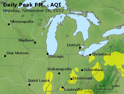 Peak Particles PM<sub>2.5</sub> (24-hour) - http://files.airnowtech.org/airnow/2012/20121126/peak_pm25_mi_in_oh.jpg
