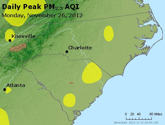 Peak Particles PM<sub>2.5</sub> (24-hour) - http://files.airnowtech.org/airnow/2012/20121126/peak_pm25_nc_sc.jpg
