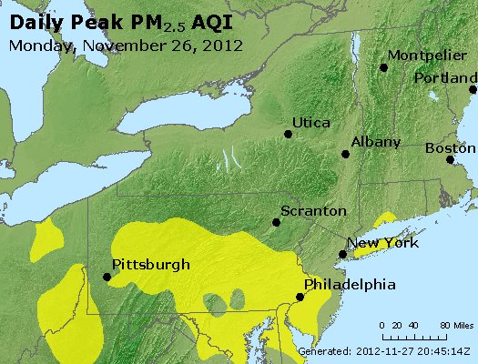 Peak Particles PM<sub>2.5</sub> (24-hour) - http://files.airnowtech.org/airnow/2012/20121126/peak_pm25_ny_pa_nj.jpg