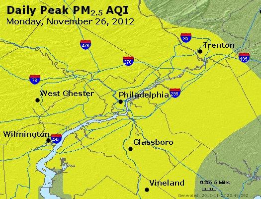 Peak Particles PM<sub>2.5</sub> (24-hour) - http://files.airnowtech.org/airnow/2012/20121126/peak_pm25_philadelphia_pa.jpg