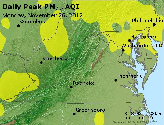Peak Particles PM<sub>2.5</sub> (24-hour) - http://files.airnowtech.org/airnow/2012/20121126/peak_pm25_va_wv_md_de_dc.jpg
