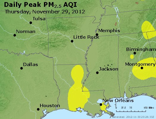 Peak Particles PM<sub>2.5</sub> (24-hour) - http://files.airnowtech.org/airnow/2012/20121129/peak_pm25_ar_la_ms.jpg