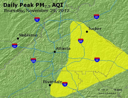 Peak Particles PM<sub>2.5</sub> (24-hour) - http://files.airnowtech.org/airnow/2012/20121129/peak_pm25_atlanta_ga.jpg