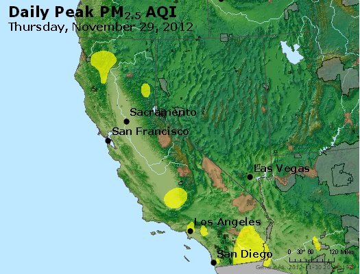 Peak Particles PM<sub>2.5</sub> (24-hour) - http://files.airnowtech.org/airnow/2012/20121129/peak_pm25_ca_nv.jpg