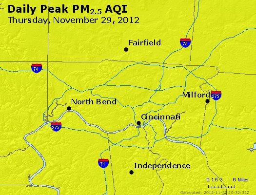 Peak Particles PM<sub>2.5</sub> (24-hour) - http://files.airnowtech.org/airnow/2012/20121129/peak_pm25_cincinnati_oh.jpg